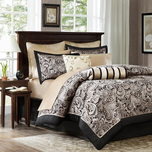 12pc Black & Gold Jacquard Weave Comforter Set AND Sheet Set (Aubrey-Black)
