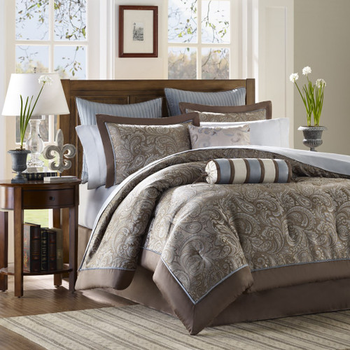 12pc Blue & Taupe Jacquard Weave Comforter Set AND Sheet Set (Aubrey-Blue)