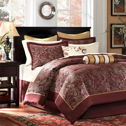 12pc Burnt Red & Gold Jacquard Weave Comforter Set AND Sheet Set (Aubrey-Red)