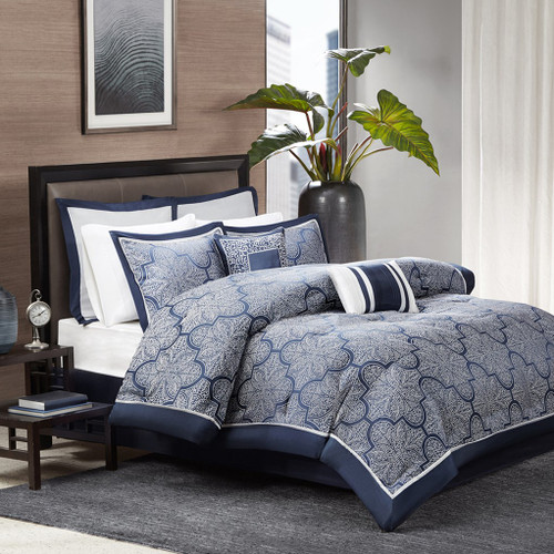 8pc Navy Blue & Silver Woven Jacquard Comforter Set AND Decorative Pillows (Medina-Navy)