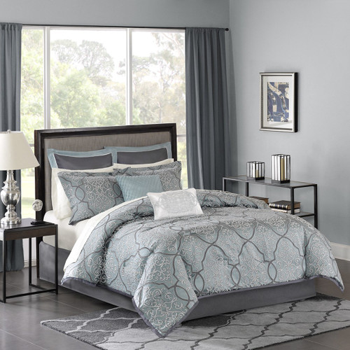 12pc Blue & Grey Jacquard Woven Comforter Set AND Sheet Set (Lavine-Blue)