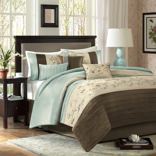 7pc Blue & Brown Embroidered Floral Comforter Set AND Decorative Pillows (Serene-Blue)