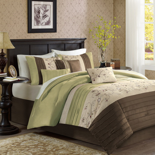 7pc Green & Brown Embroidered Floral Comforter Set AND Decorative Pillows (Serene-Green)