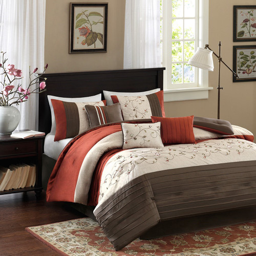 7pc Rust & Brown Embroidered Floral Comforter Set AND Decorative Pillows (Serene-Orange)