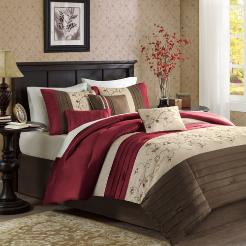 7pc Rich Red & Brown Embroidered Floral Comforter Set AND Decorative Pillows (Serene-Red)