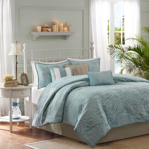 7pc Soft Blue & White Coastal Woven Comforter Set AND Decorative Pillows (Carmel-Blue)