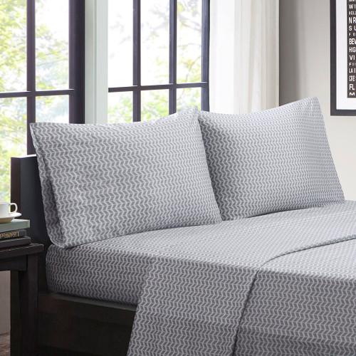 Grey & White Chevron Zig Zag Microfiber Sheet Set (Chevron-ID-Grey)