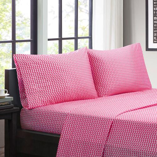 Hot Pink & White Chevron Zig Zag Microfiber Sheet Set (Chevron-ID-Pink)
