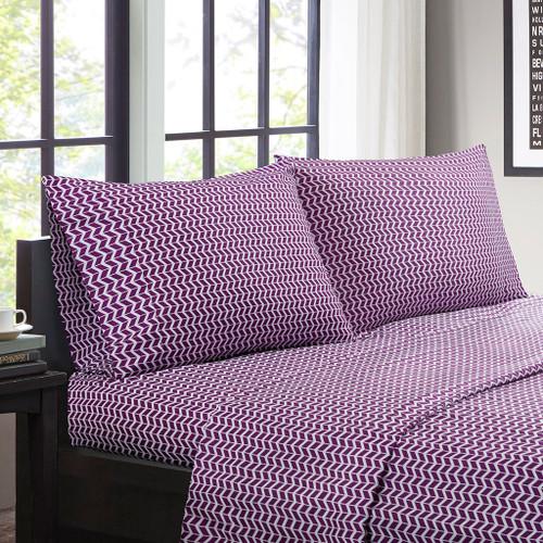 Purple & White Chevron Zig Zag Microfiber Sheet Set (Chevron-ID-Purple)