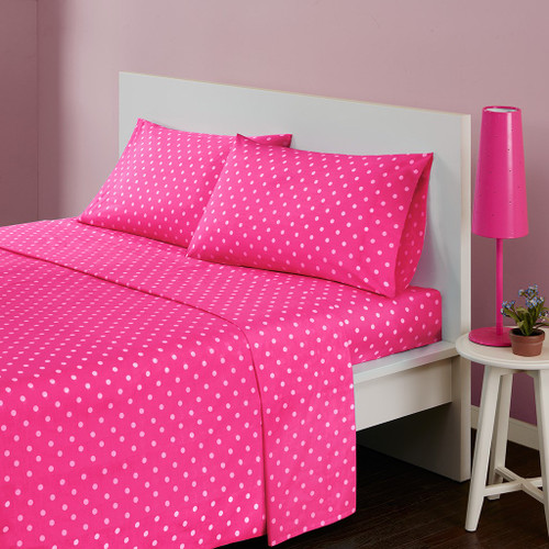 Hot Pink & White Polka Dot Cotton Sheet Set (Polka-MZ-Dark Pink)