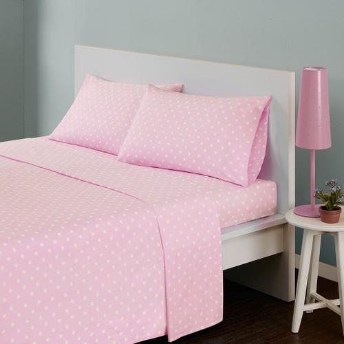 Soft Pink & White Polka Dot Cotton Sheet Set (Polka-MZ- Pink)