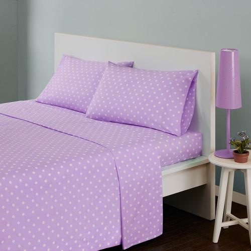 Purple & White Polka Dot Cotton Sheet Set (Polka-MZ- Purple)
