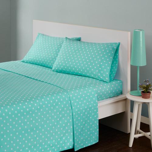 Seafoam Green & White Polka Dot Cotton Sheet Set (Polka-MZ- Seafoam)
