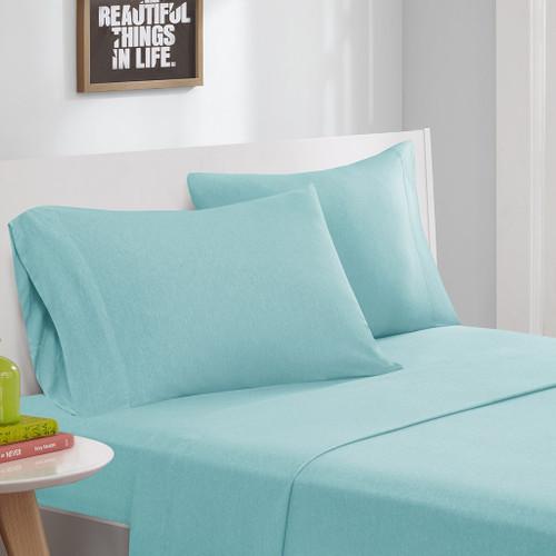 Aqua Blue Cotton Blend Jersey Knit Sheet Set (Cotton Blend-ID-Aqua)