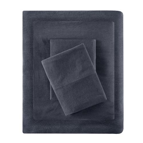 Charcoal Grey Cotton Blend Jersey Knit Sheet Set (Cotton Blend-ID-Charcoal)