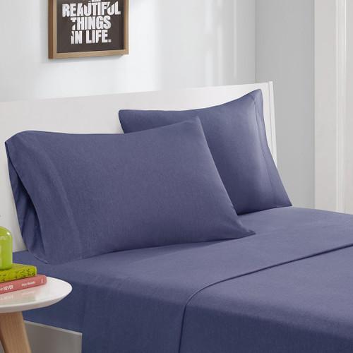 Navy Blue Cotton Blend Jersey Knit Sheet Set (Cotton Blend-ID-Navy)