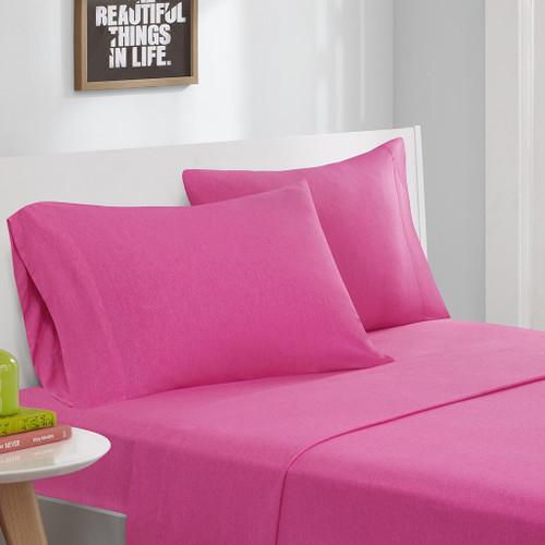 Hot Pink Cotton Blend Jersey Knit Sheet Set (Cotton Blend-ID-Pink)