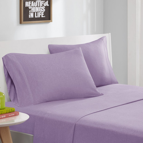 Purple Cotton Blend Jersey Knit Sheet Set (Cotton Blend-ID-Purple)