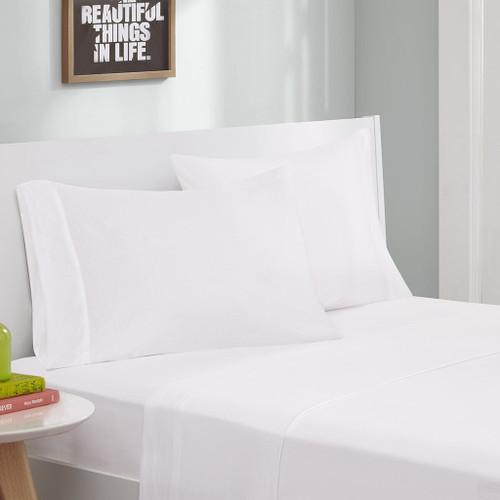 White Cotton Blend Jersey Knit Sheet Set (Cotton Blend-ID-White)