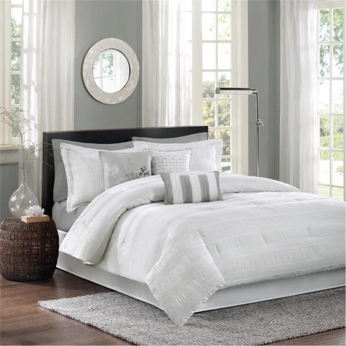 7pc White & Grey Striped Comforter Set AND Decorative Pillows (Hampton-White)