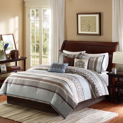 7pc Blue & Brown Geometric Comforter Set AND Decorative Pillows (Princeton-Blue)