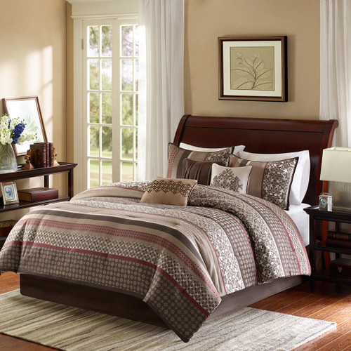 7pc Brown & Red Geometric Comforter Set AND Decorative Pillows (Princeton-Red)