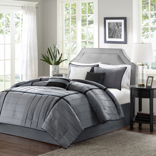 7pc Grey & Black Herringbone Comforter Set AND Decorative Pillows (Bridgeport-Grey)