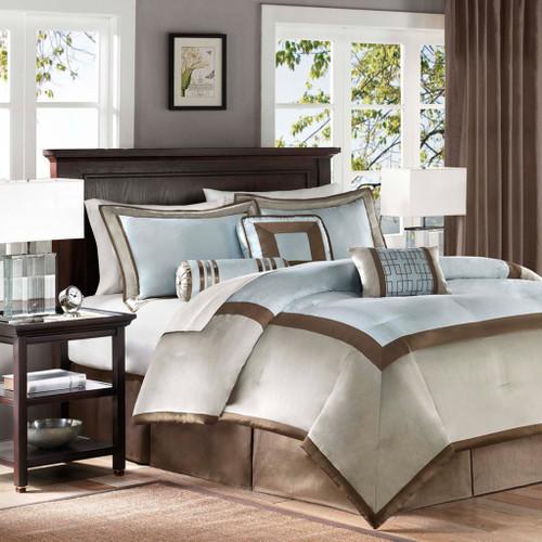 7pc Light Blue & Brown Geometric Comforter Set AND Decorative Pillows (Genevieve-Blue)