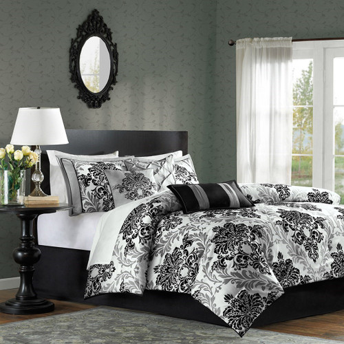 7pc Black & Gray Damask Comforter Set AND Decorative Pillows (Bella-Black)