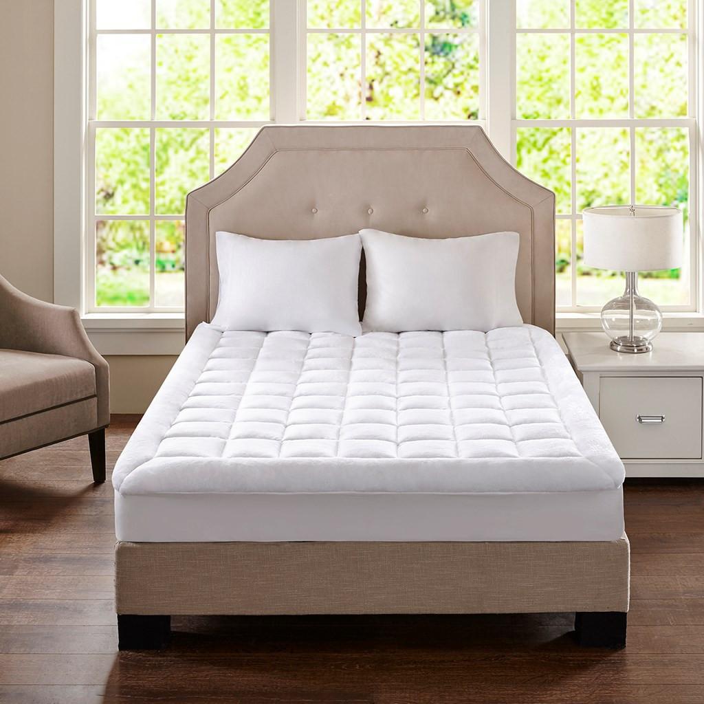 White Soft Overfilled Plush WATERPROOF Mattress Pad (Cloud Soft)