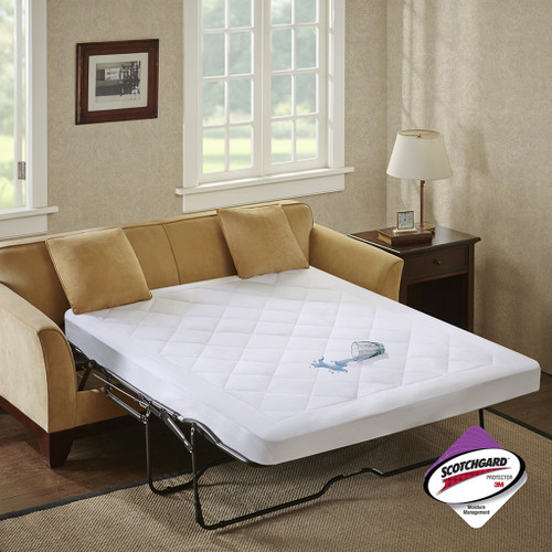 White Microfiber WATERPROOF Sofa Bed Mattress Pad (Holden-White)