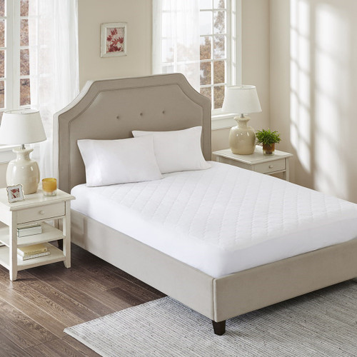 White Cotton Percale Quilted Top Mattress Pad (All Natural-White)