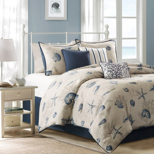 7pc Coastal Blue Cotton Comforter Set AND Decorative Pillows (Bayside-Blue)