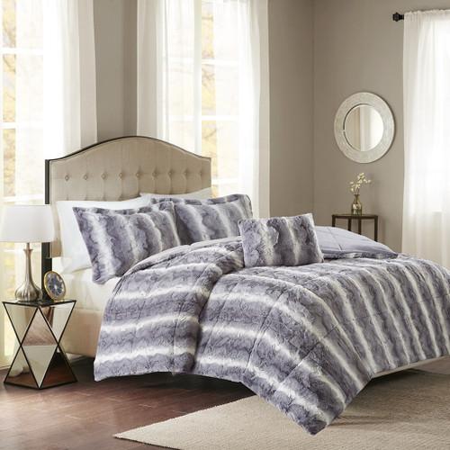 4pc Reversible Grey Faux Fur Comforter Set AND Decorative Pillow (Zuri-Grey)