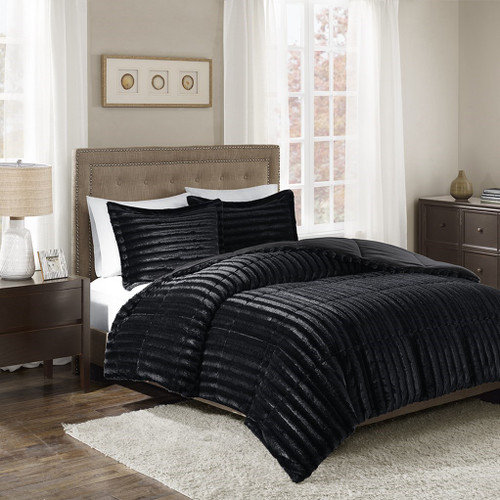 3pc Black Faux Fur Comforter AND Decorative Pillow Shams (Duke-Black)