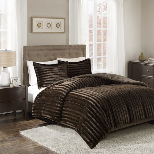 3pc Dark Brown Faux Fur Comforter AND Decorative Pillow Shams (Duke-Brown)