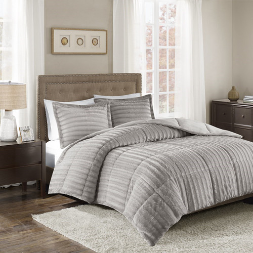 3pc Grey Faux Fur Comforter AND Decorative Pillow Shams (Duke-Grey)