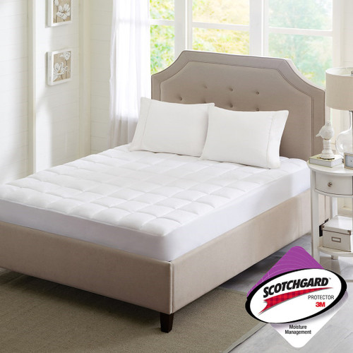 White Microfiber 3M Scotchgard Mattress Protector (Highline-White)