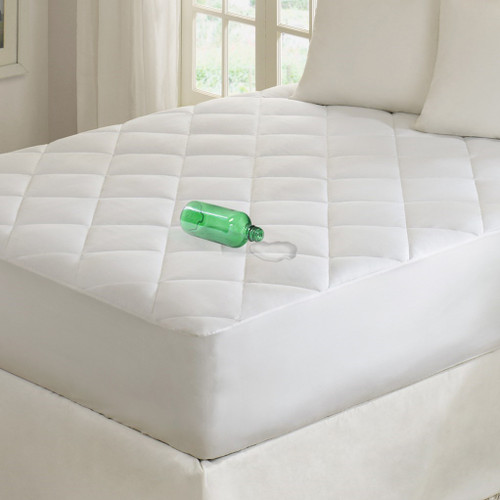 White WATERPROOF 300TC Cotton Mattress Pad (Quiet-White)