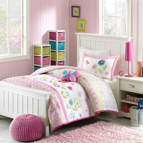 Girls Pink & Green Floral Comforter Set AND Decorative Pillow (Spring Bloom-Multi)