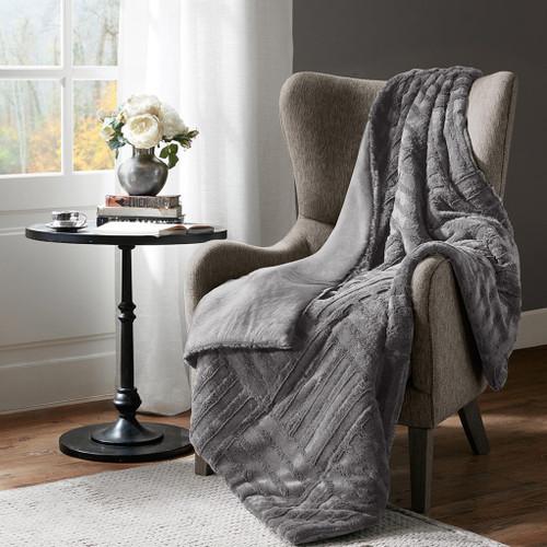 "Grey Ultra Plush Down Alternative Throw Blanket - 50"" x 60"" (675716783785)"
