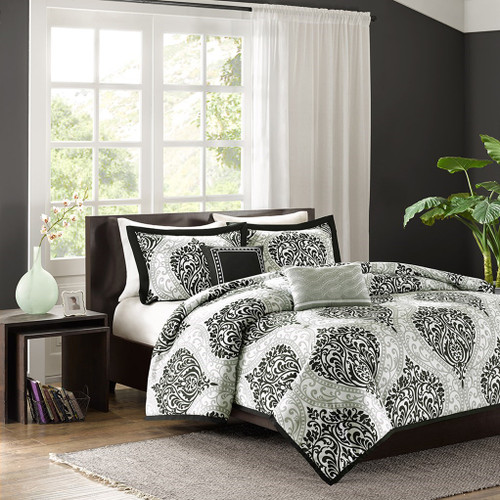 Black & Grey Damask Print Duvet Cover Set AND Decorative Pillows (Senna-Black-Duv)