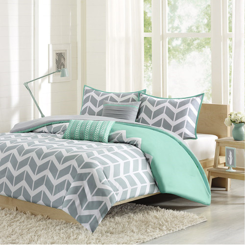 Teal Grey & White Chevron Duvet Cover Set AND Decorative Pillows (Nadia-Teal-Duv)
