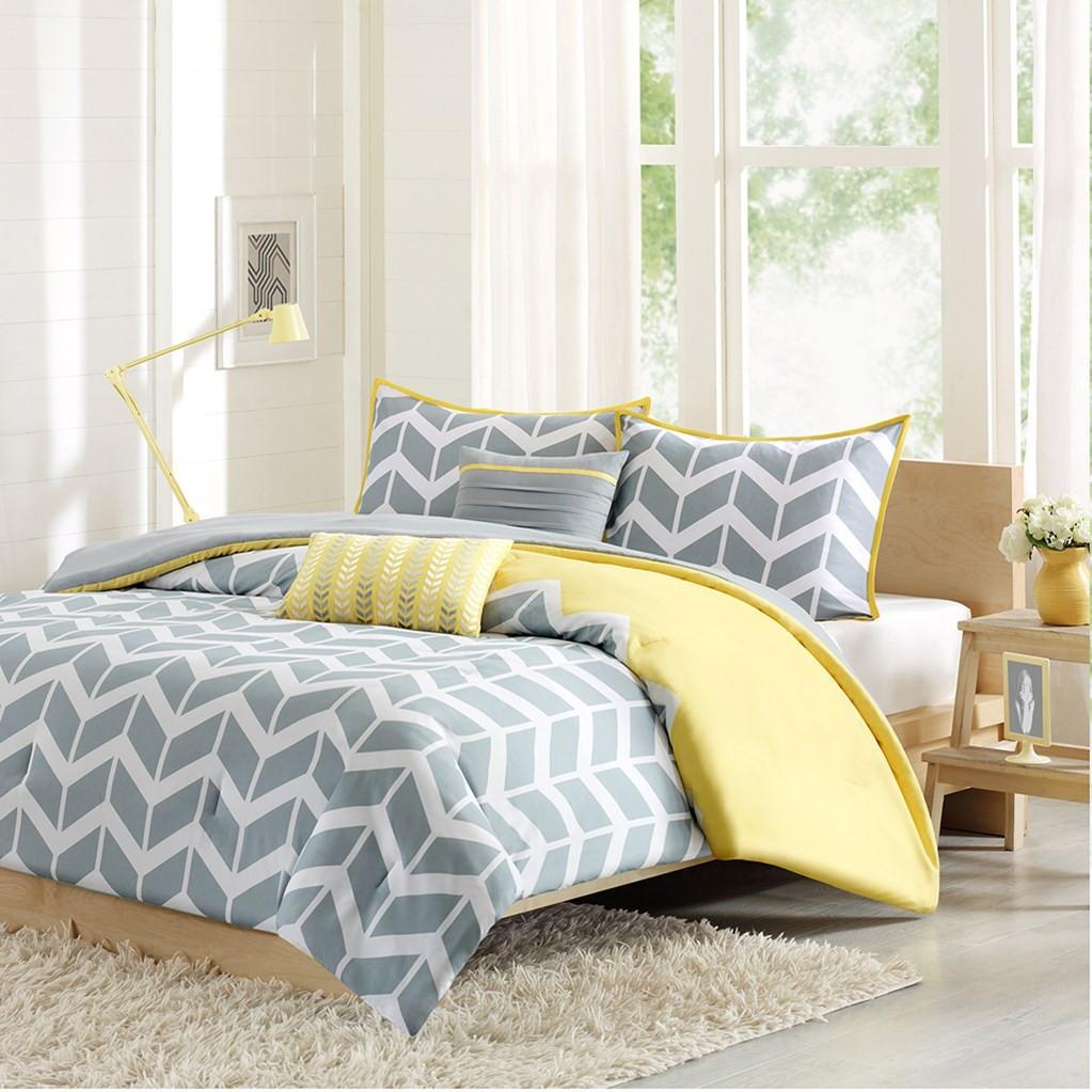 Yellow Grey & White Chevron Duvet Cover Set AND Decorative Pillows (Nadia-Yellow-Duv)