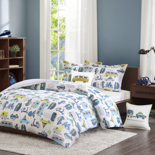 Kids Cars & Vans Colorful Cotton Duvet Cover Set AND Decorative Pillow (Roadtrip-Multi-Duv)