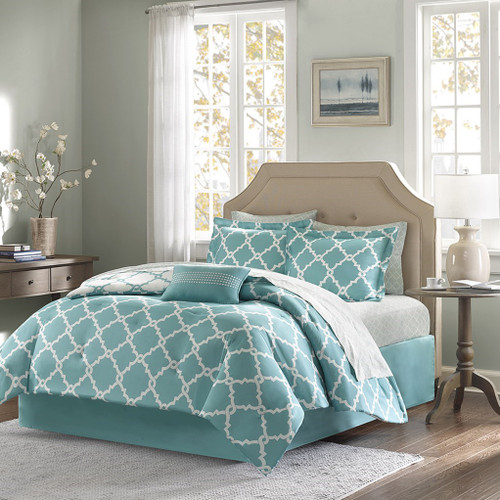 Aqua & White Reversible Fretwork Comforter Set AND Matching Sheet Set (Merritt-Aqua)