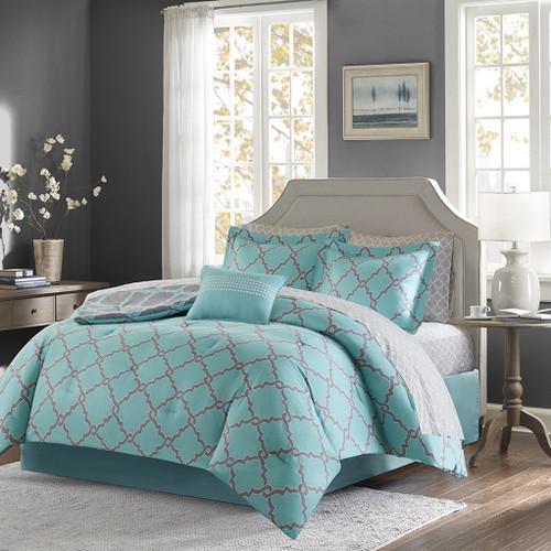 Aqua & Grey Reversible Fretwork Comforter Set AND Matching Sheet Set (Merritt-AquaGrey)