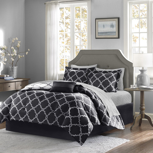 Black & White Reversible Fretwork Comforter Set AND Matching Sheet Set (Merritt-Black)