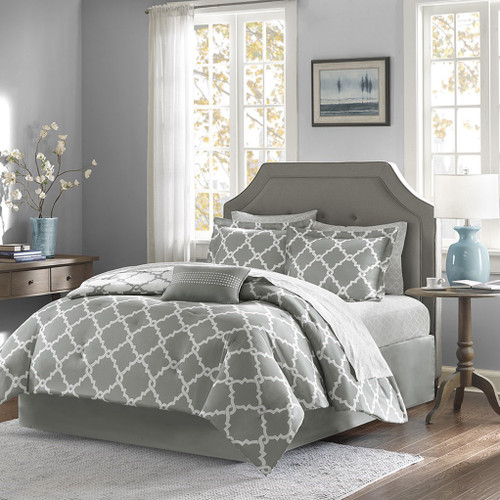 Grey & White Reversible Fretwork Comforter Set AND Matching Sheet Set (Merritt-Grey)