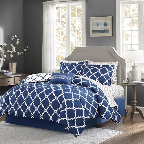 Navy Blue & White Reversible Fretwork Comforter Set AND Matching Sheet Set (Merritt-Navy)